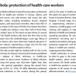 RT @TheLancet: #Ebola: protection of #healthworkers http://t.co/jDutusxhLH http://t.co/5wBWwzeWkA @Integrare @etkelley419 @FHWCoalition