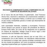 #Comunicado Reconoce el Gobernador @Paco_Olvera compromiso de los cuerpos de seguridad de Hidalgo.  @SSP_Hidalgo http://t.co/PqNuM5ADI9