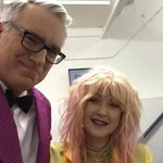 From #Colbert Farewell: mutual fan club with @CyndiLauper She loved my jacket but thought it was a little bright http://t.co/A6Jrz9WbjA