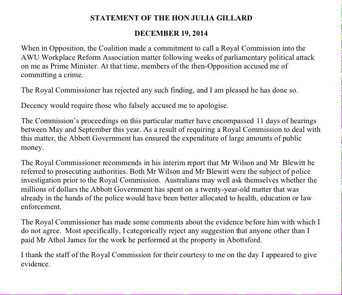 STATEMENT Former PM Julia Gillard: 'Decency would require those who falsely accused me to apologise.' http://t.co/ECiDQ5Ai9W