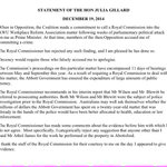 STATEMENT Former PM Julia Gillard: Decency would require those who falsely accused me to apologise. http://t.co/ECiDQ5Ai9W