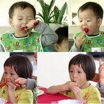 """""""Superman Returns"""" #ChuSarang and Triplet #MinGook Battle It Out in Strawberry-Eating Contest http://t.co/XAejzJsjiY http://t.co/AZMNAvSama"""