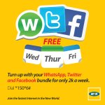 Enjoy Whatsapp, Twitter & Facebook free on Wedne, Thurs & Fri with the weekly WTF Bundle at UGX 2,000. Dial *150*6#. http://t.co/TKgvc81gKP