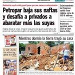 """¡Buenos días! Compartimos la tapa de #UHpy: """"Mientras dormía la tierra tragó su casa"""". http://t.co/r2XIPAiMjk http://t.co/1DkdNMQphn"""