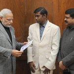 Met Honble PM Shri @narendramodi Ji accompanied by Jogabyasa Bhoi, the Youngest Everest Climber from Odisha. http://t.co/DYhCR3bgPK