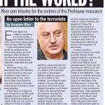 Shri @AnupamPkher s open letter to the terrorists in Yesterdays @htTweets Café. Do RT #PeshawerSchoolAttack http://t.co/bR7EoDI1lN