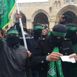 Hamas members during a rally at the Temple Mount/al-Aqsa Mosque in Jerusalem after Friday prayers marking anniversary http://t.co/Q1zK8px7rq