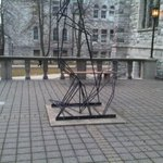 """""""Two figures in conflict"""" a Sc66 prank was reinstalled by #queensu pps this morn. @QueensEngineer should be happy. http://t.co/Dp0HKMqFiD"""