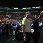 PHOTO: A KKB member takes a selfie with President Aquino at the 2014 Youth Summit held at the Smart Araneta Coliseum. http://t.co/PdQTs12NvC