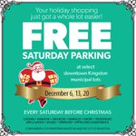 More reasons to #VisitKingston! Free Saturday parking at select downtown municipal lots on December 6, 13, and 20! http://t.co/Nn53hj1dZx