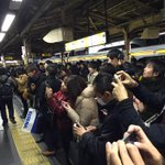people taking pics of the train hitted a person at shinjuku st. Tokyo. https://t.co/Tr2DUUs9o5