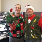 The CBC PEI Turkey drive wraps up today-Matt and Mitch love their ugly sweaters!#UglySweater #PEI #turkeydrive http://t.co/YEOfzayXrm