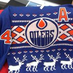 Check out these snazzy #Oilers Xmas sweaters. Want to know how you can get one? Tune in right now. #yeg http://t.co/dGxkHrDEMM