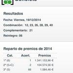 ULTIMA HORA | Un acertando se lleva 1.2 millones de euros en Jaén. Números premiados: 12,23,26,28,29,40 http://t.co/UUqTiSlogZ