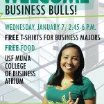 Save the date returning #USF Business Bulls: Week of Welcome cookout on Jan. 7. Free t-shirts, free food, good times. http://t.co/2frAgc6WwQ