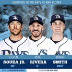 Join us in welcoming the five newest #Rays: @ReneRivera13, @StevenSouzaJR, Burch Smith, @JakeBauers11 and Travis Ott! http://t.co/kkqG0mzExO