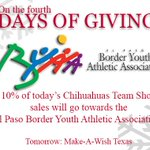 On the fourth Day of Giving ... @EPBYAA! The Team Shop is open until 5 p.m.! Tomorrow: @MakeAWishNT http://t.co/Q0cm0pFPb5