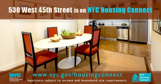 #Housinglottery applications for 530 West 45th St must be submitted to http://t.co/dzLr78mOET by December 26th, 2014. http://t.co/AurdkgGlbE