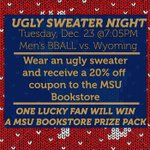Wear an ugly sweater to the game Tuesday and receive at 20% off coupon to the bookstore! @MontanaStateMBB http://t.co/QAzqhlicpc
