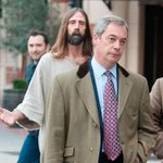 Nigel Farage has been followed around by a man dressed as Jesus today http://t.co/WDNobeo5kq http://t.co/hWngGT0lB3