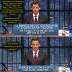 """Hey, Sony hackers! Seth has three words for you: """"Bring it on!"""" [Don't bring it on] http://t.co/2DzqLWmG4x #LNSM http://t.co/VTHxSUJp9t"""