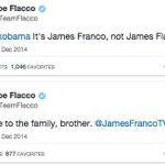 Obama referred to James Franco as James Flacco. Dont worry though, Flacco corrected him. http://t.co/g2yMM8LDWC http://t.co/bKhFca6ReN