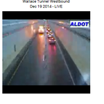 Yet another accident WB Wallace Tunnel blocking left lane. Via Peggy Ann Price. http://t.co/GZ9VJLF7e4