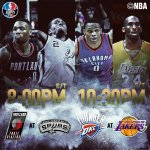 Tonights @ESPNNBA actions tips off at 8pm/et with @TrailBlazers/@Spurs, followed by @OKCThunder/@Lakers! http://t.co/NA3fOgrocV