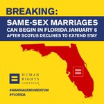 BREAKING: U.S. Supreme Declines to Stay Florida Marriage Ruling. Same-Sex Marriages Will Begin January 6 http://t.co/9KcfboF64b