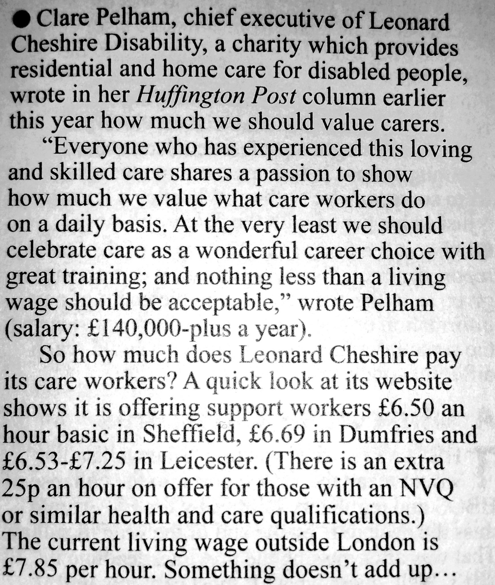 Hypocrisy of @ClarePelham and @LeonardCheshire's failure to pay the Living Wage in @PrivateEyeNews @BeresfordPeter http://t.co/OU73i0y00M