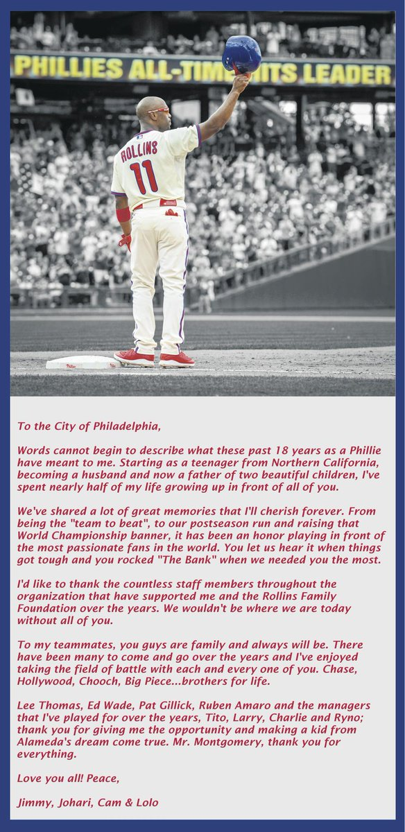 Jimmy Rollins bought a full-page ad in Saturday's @PhillyInquirer: http://t.co/ct2rRiw2sU