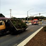 A truck hauling yard waste is blocking traffic after its bed tipped on Del Monte Ave. at Casa Verde Way in Monterey. http://t.co/ds5tiPebmP