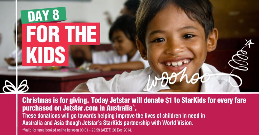 Day 8 – Today Jetstar will donate $1 to StarKids for every fare purchased on