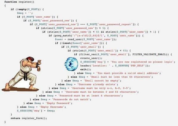 """Narcissistic Coder on Twitter: """"Dear PHP Guys, this is what happens when you nest too deep. #php #programming http://t.co/GHIybHMF0w"""" ..."""