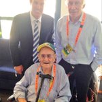 92yr old Ray Lovetts first day at the cricket. Met Ian Chapell & warned @ShaneWarne off fast women @WWOS9 #AUSvIND http://t.co/RkQ1NedxrS
