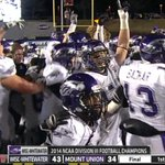 For 5th time in last 6 yrs, D3 Championship belongs to UW-Whitewater  Warhawks beat Mount Union 43-34 to secure title http://t.co/GmNvYlbx3d