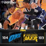 Lakers fall 104-103 to the Thunder as Kobe misses a potential winner at the buzzer. http://t.co/qRdsEBwPrA