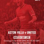 Get the best build-up and coverage of Aston Villa vs #mufc from 14:00 GMT, live on #MUTV: http://t.co/H7qODlzmCf http://t.co/gU4rs5ysHR