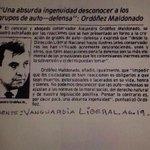 Comparto ese bonito recorte que me mandaron en que el doctor Ordóñez fija su posición sobre el paramilitarismo: http://t.co/z6fCZ7WUA3
