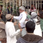 Religious activists beat Karachi political activist Nasir Arain outside press club during an anti-Taliban protest http://t.co/RXk80Ayihy