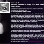 """""""Additional music will be released on Feb. 9th."""" http://t.co/VHFPpZdxDo #REBELHEART press release. Queen. http://t.co/j8nCRfeMMo"""