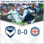 And that's HT. Both sides had their chances, but neither could make the breakthrough #MelbDerby #10YearsProud http://t.co/vTy6C80tID