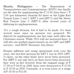 JUST IN: MRT & LRT fares to be increased on Jan. 4 - @DOTCPhilippines http://t.co/SK83CMBRjA