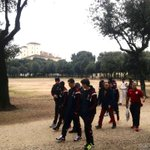 Live from Rome: the rossoneri are having a walk at Villa Borghese! #RomaMilan http://t.co/TsTWFPvxnV