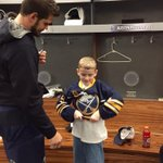 Austin McDonald, 9, of Savannah, Ga., fulfills his wish to meet the #Sabres through @MakeAWish & gets his own jersey. http://t.co/U1Z38F8iaX