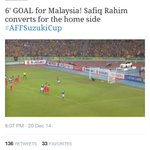 Early penalty goal by Malaysia narrows agg 1-2 vs Thailand, Suzuki Cup Final.. http://t.co/gNvwVLmW6D
