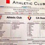 15:30 en Lezama JDH Athletic - Osasuna. Estas son las alineaciones http://t.co/xYyloTJARy
