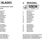 The official teamsheet for todays game between @SUFC_tweets & @WFCOfficial in @SkyBetLeague1... #twitterblades http://t.co/gqdDWVUZ4Y