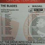 Sheffield United v Walsall team sheet. Che Adams starts. #sufc #twitterblades http://t.co/UVxy5O5jz3