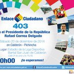En minutos, siga #EnVivo el #Enlace403 desde #Calderón con el Presidente @MashiRafael por http://t.co/P2nb1J3jOQ http://t.co/G7qrvITE64